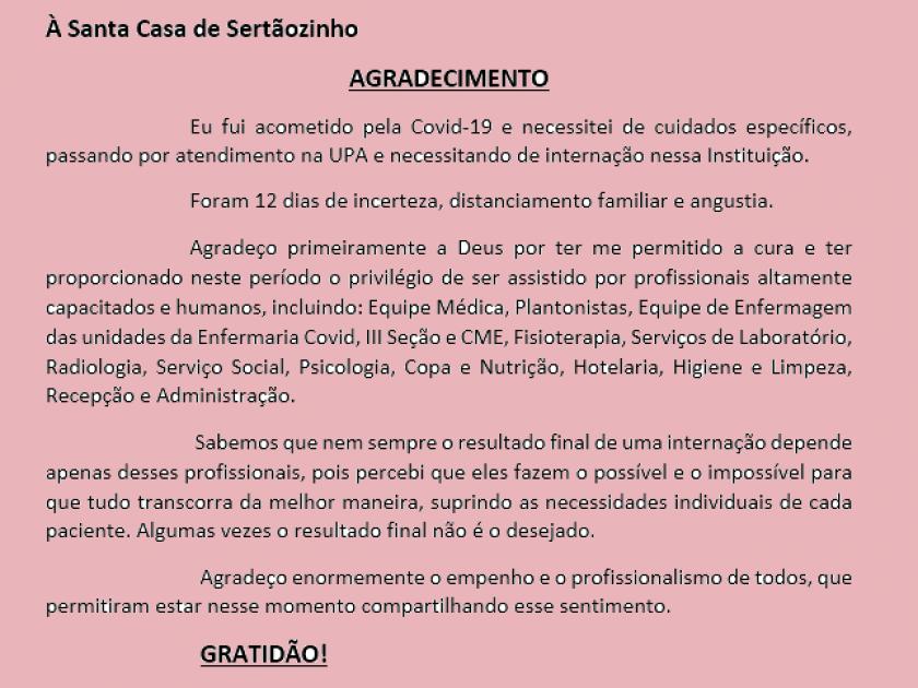 Munícipe envia mensagem de reconhecimento e agradecimento aos profissionais da Santa Casa após internação para tratamento da COVID-19